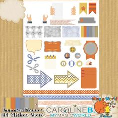 #Caroline B. - January Planner A4 Sticker Sheet Begin your New Year Planner with this R-2-P A4 Sticker Sheet for January.  A new palette for each month !    Including 1 JPG and 1 PNG file format with 27 stickers, 3 washi tapes and the matched paintchip .    You also could choose to use it the whole year or for another month.    A4 - ideal to print at home ! http://www.carolineb-design.com/index.php?main_page=product_info&products_id=899