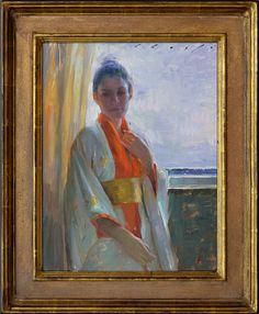 "Backlit in Kimono by Suchitra Bhosle 18"" x 14"" oil Meyer Gallery"