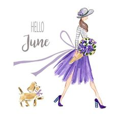 Celebrate June with my high res watercolor clip art images! For your summertime print and digital projects. Hello June, Positive Quotes For Women, Holiday Signs, Girl Sketch, Girly Quotes, Illustration Girl, Months In A Year, Picture Design, Collage