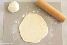 Shaping and rolling naan dough. Easy Focaccia Bread Recipe, Make Naan Bread, How To Make Naan, Homemade Naan Bread, Recipes With Naan Bread, Naan Recipe, Best Bread Recipe, Cajun Shrimp Scampi Recipe, Yeast Dough Recipe