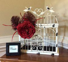 SOLD - Ivory wedding card birdcage/Wedding decorations/Art deco wedding card holder/1920s style wedding card holder