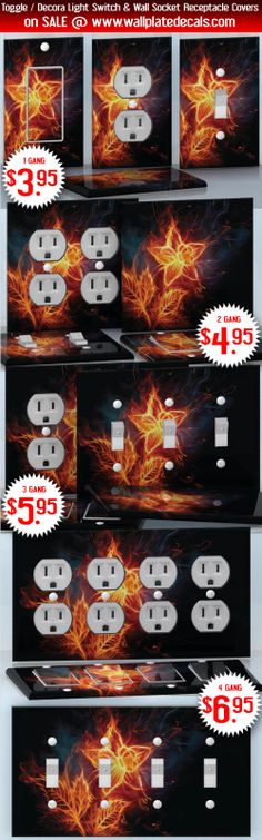 DIY Do It Yourself Home Decor - Easy to apply wall plate wraps | Flame Lily  Fire flower on black  wallplate skin stickers for single, double, triple and quadruple Toggle and Decora Light Switches, Wall Socket Duplex Receptacles, and blank decals without inside cuts for special outlets | On SALE now only $3.95 - $6.95