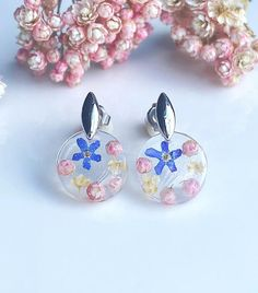 Forget me not Ozothamnus and Elderflower earrings Unique image 0