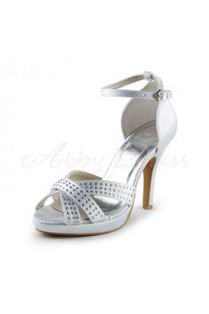 Satin Stiletto Heel Sandals, Platform, Peep Toe, Pumps Women's Shoes White Wedding Shoes - Abbydress.com