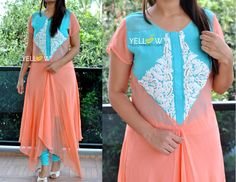Georgette asymmetric Kurti with heavy threadwork in light shades.Sizes - Large  XLPrice - 2999 INR Kindly write to us at teamyellow@yellowkurti.com or private message us here on Facebook for Orders ! Georgette  Kurtis  Partywear  peach  Seagreen  asymmetric  23 November 2016