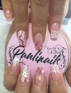 Trendy Nails, Pink Nails, Nail Designs, Hair Beauty, Nail Art, Floral, Fashion, Nail Stickers, Bling Nails