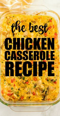 Chicken Casserole - Dinner Straight From Grandma's Recipe Box This simple and quick chicken casserole is filled with tender noodles, hearty chicken, a creamy sauce, and veggies. It's an easy, crowd-pleasing delicious dinner idea! Best Chicken Casserole, Casserole Dishes, Casseroles With Chicken, Bean Casserole, Casserole Recipes, Chicken Wraps, Butter Chicken, Cooked Chicken, Buffalo Chicken