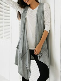 Comfy Weekend Casual! Elegant Grey Plunging Neck Sleeveless Solid Color Waistcoat #Comfy #Weekend #Casual #Layered #Fall_Fashion