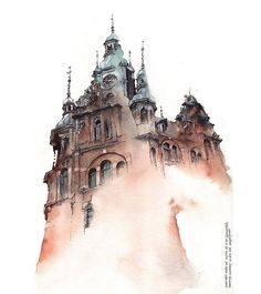 Dreamy New Architectural Watercolors by Artist Sunga Park