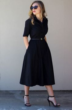 Ankle-strapped Heels Goes Well With Black Solid Shirt Style Party Dress