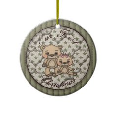 Our First Christmas Faux Quilted ornament
