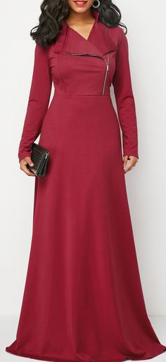Wine Red Zipper Front Long Sleeve Maxi Dress.