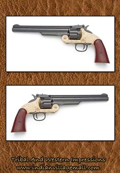 Schofield Western Brass Trim Non-Firing Replica Pistol -Review the Old West Gun Movie And TV Replica Reproductions- off of   http://www.indianvillagemall.com/gunandmovieprops.html