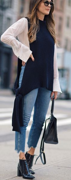 #fall #trending #outfits | Side Tie Knit Vest + White Blouse + Jeans