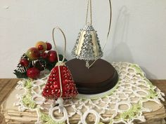 2 Handmade Vintage Beaded Sequin Push Pin Bell Christmas Ornaments Red & Silver #Christmas