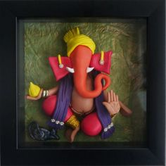 handmade 3D Ganesha delicately embellished with bead and pearl jewelry