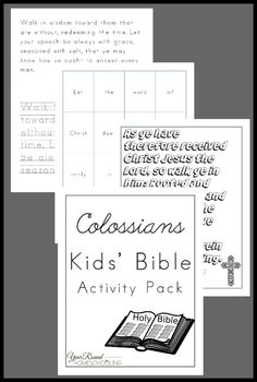 Colossians Kids' Bible Activity Pack - Year Round Homeschooling Bible Activities For Kids, Bible Study For Kids, Kids Bible, Lessons For Kids, Bible Lessons, School Lessons, Learn Hebrew, Homeschool Curriculum, Homeschooling