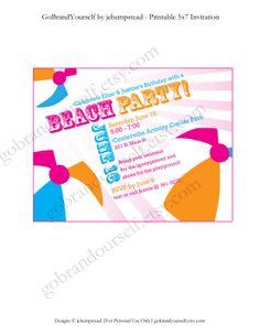Beach Party Printable 5x7 invitation Girls by GoBrandYourself, $7.00y