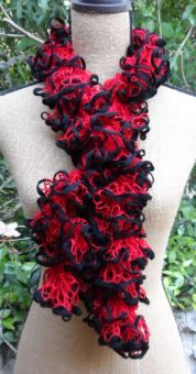 Crochet Ruffle Scarf - Starbella Stripes 'Hot Shot'