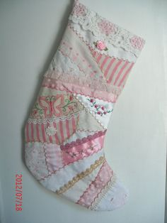CRAZY QUILT PINK Christmas Stocking Lavish embroidery by maire60, $35.00