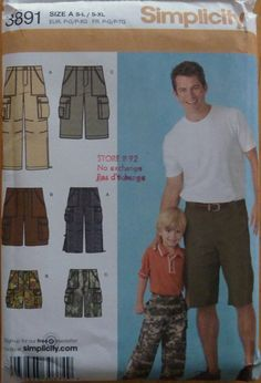Sewing Pattern Simplicity 3891 / Boy's  Men's Cargo pants and Shorts