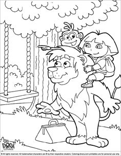 Dora And Boots With Lion Friend Coloring Pages