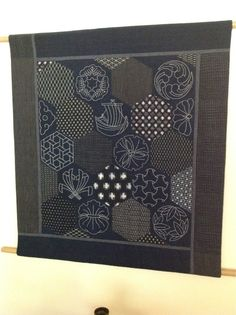 Antique kasuri with sashiko crests