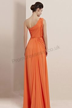 a607f135403 orange one-shoulder ruffle lace side open fork chiffon prom dress 2013  Pastel Dress