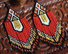 Cuentas pendientes, joyería artesanal, estilo étnico, flecos pendientes, aretes, estilo americano nativo de la gota