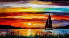 how to acrylic paint on canvas for beginners   Description: The Wallpaper above is Boat sunset painting Wallpaper in ...