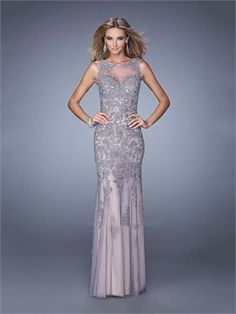 Mermaid Boat Neckline Tulle Hollow Out Long Prom Dress PD12064