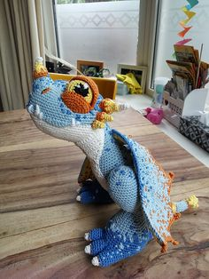 I am using this pattern to turn it into a winged dragon calles Stormfly from the movie How to train a dragon. Finished! I have changed the mouth, eyes, body and leggs and added wings, spikes and ...