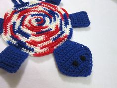 Turtle Crochet Pot Holder in Red White and by crochetedbycharlene, $18.00
