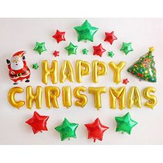 "Youbedo Gold 16"" Merry Christmas Letters Red Green Stars Dancing Santa And Christmas Tree Set Foil Balloons For Christmas Holiday New Year Party Decorations * Check out this great product. (This is an affiliate link) #SeasonalDcor"
