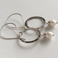 Large Pearl & Silver Hoop Earrings