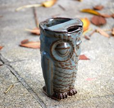 ceramic travel mug handmade eco friendly owl coffee mug  - READY TO SHIP by claylicious on Etsy https://www.etsy.com/listing/171623380/ceramic-travel-mug-handmade-eco-friendly