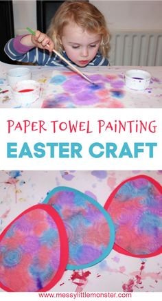 Paper towel painting is such a fun process art for toddlers and preschoolers. Use our free printable egg template to turn your paper towel art into an adorable Easter egg craft for kids. Toddler Arts And Crafts, Easter Arts And Crafts, Easter Egg Crafts, Easter Eggs, Easter Cake, Easter Crafts For Toddlers, Easter Activities, Preschool Crafts, Upcycled Crafts