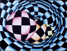"Using a unique ""checker-board"" design using vertical lines    and concentric circles, students will create colorful optical illusion    designs."