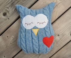 Owl Pillow Plush - Recycled Wool - Cable Blue