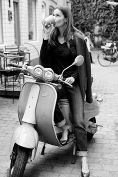 A ride on a Vespa and an Italian cappuccino. Looks very Roman Holiday!