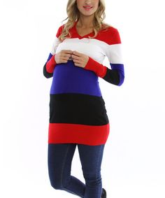 Black & Red Stripe Maternity Sweater - Women by PinkBlush Maternity