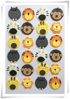Set of 12 or 24 Animal cupcake toppers by SugaryLand on Etsy Zoo Animal Cupcakes, Jungle Cupcakes, Fun Cupcakes, Cupcake Party, Ballerina Cupcakes, Second Birthday Ideas, First Birthday Party Themes, 3rd Birthday Cakes, Jungle Safari Cake