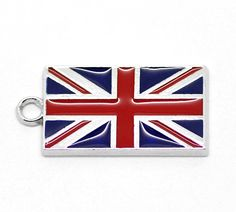 4 Silver Metal Enamel UK FLAG CHARMS or Pendants by SmartParts, $4.29