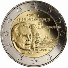 2 Euro Commemorative Coins 2012 William IV, Grand Duke of Luxembourg