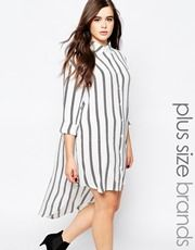Missguided Plus Stripe Shirt Dress