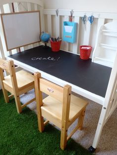 Great idea of how to reuse a crib: Kids activity desk: crib, particleboard, and chalkboard paint = genious!