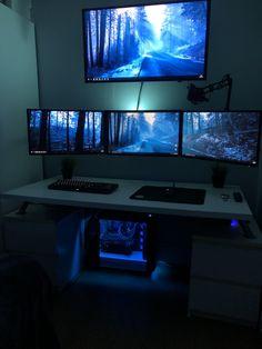 Gone for a clean look hard work paid off! Gaming Desk Setup, Best Gaming Setup, Gamer Setup, Computer Setup, Pc Setup, Star Citizen, Snug Room, Gaming Station, Home Building Design