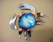 Crab Crabby Blue Crustacean Seafood Steel Wall Art Metal Beach Cabin Ocean Cottage Home Coast Coastal Decor
