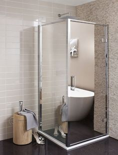 Opt for mirrored finishes - mirror shower door, shower cublicale, stylist shower, bathroom ideas