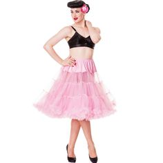 """Full 50's petticoat (27"""" length) by Hell bunny. Perfect for wearing under 50's dresses to maximize volume. Elasticated waist for perfect fit. Material upper half with two layers of netting attached. A"""